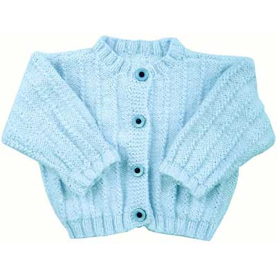 Free Knitting Pattern for a Easy Rib Baby Jacket
