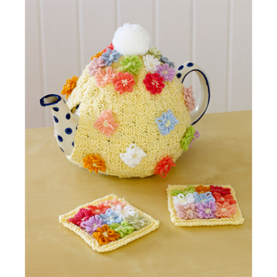 Free Knitting Pattern for a Flower Tea Cosy and Coasters