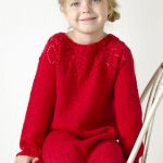 Free Knitting Pattern for a Girl's Lace Yoke Dress