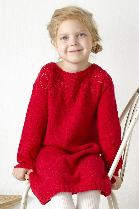 Free Knitting Pattern for a Girl's Lace Yoke Dress