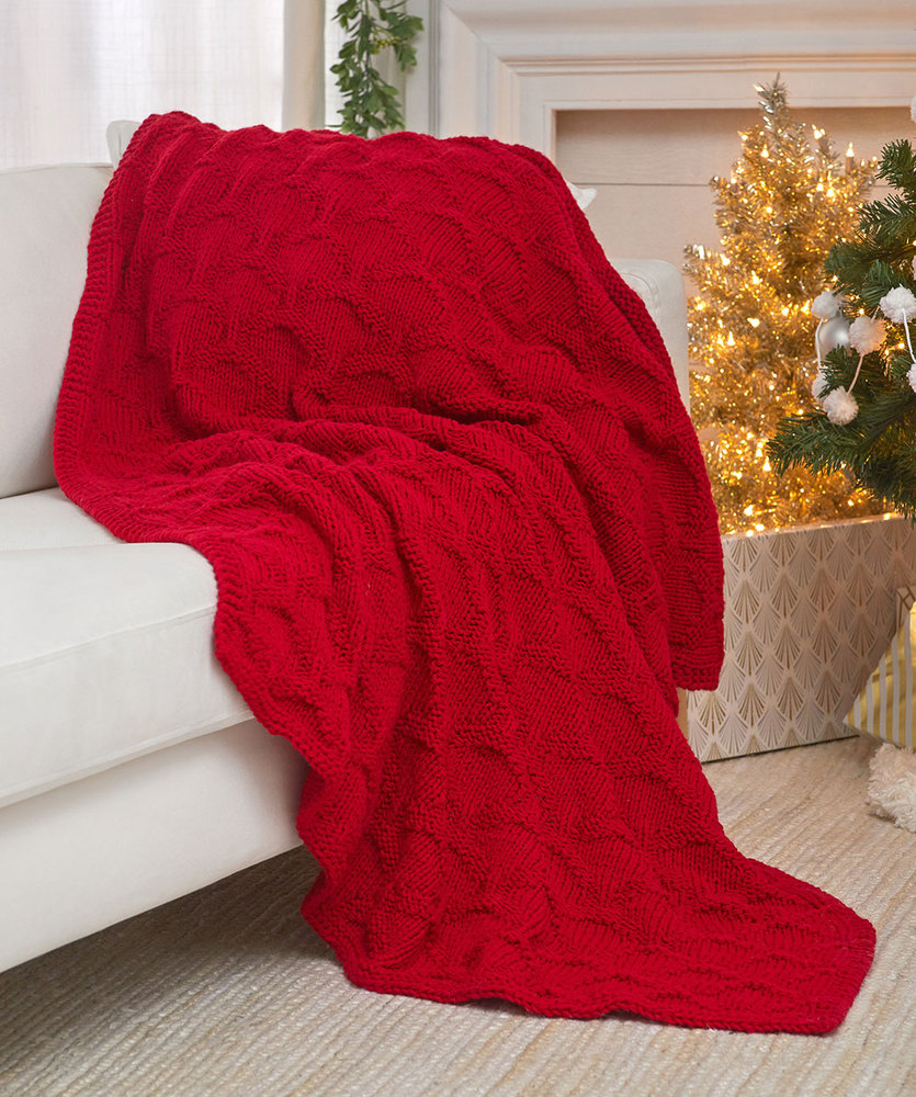 Free Knitting Pattern for a Have a Cool Yule Knit Throw