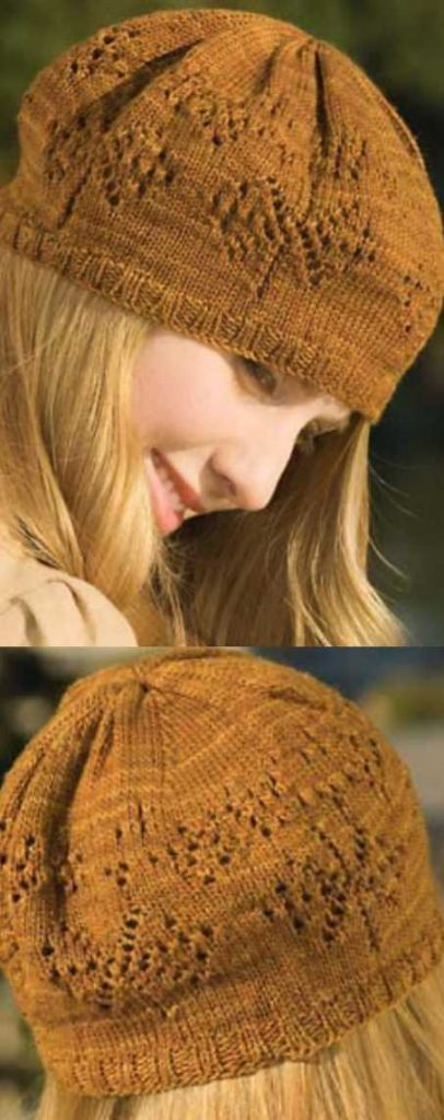 Free Knitting Pattern for a Lace Fountain Hat