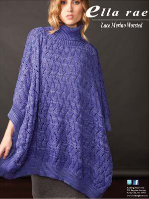 Free Knitting Pattern for a Lace Merino Worsted Poncho