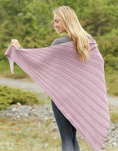 Free Knitting Pattern for a Lace Shawl Pink Cascade. Knitted shawl with lace pattern in worked from side to side.