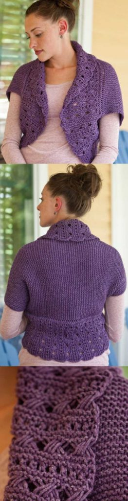 Free Knitting Pattern for a Lace Sophia Shrug