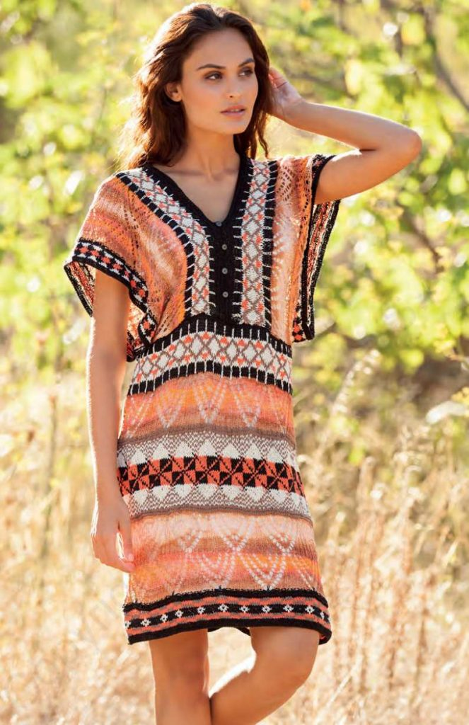 Free Knitting Pattern for a Lace and Colorwork Boho Dress
