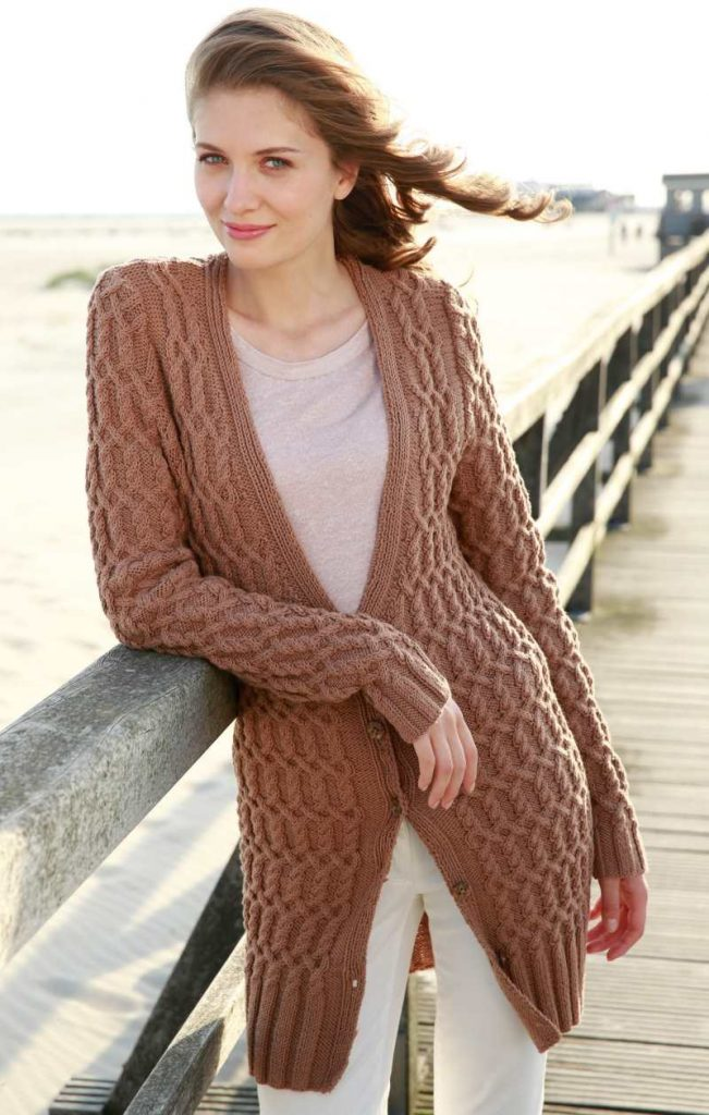 Free Knitting Pattern for a Long All Over Cable Cardigan