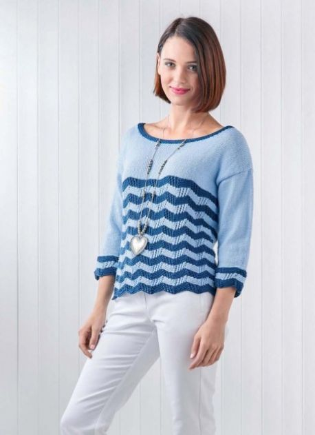 Free Knitting Pattern for a Nautical Chevron Summer Sweater