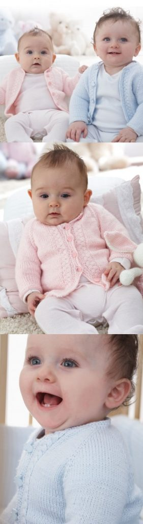 Free Knitting Pattern for a Patons Top Down Vintage Cardigan for Babies