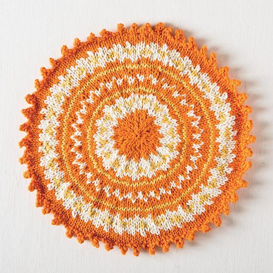 Free Knitting Pattern for a Round Fair Isle Washcloth