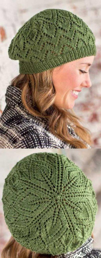 Free Knitting Pattern for a Salunga Lace Beret