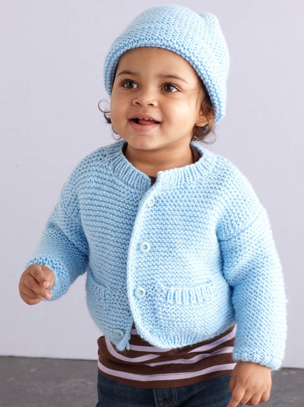 Free Knitting Pattern for a Simple Style Baby Cardigan and Hat