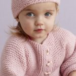 Free Knitting Pattern for a Strawberry Pink Sideways Baby Cardigan and Hat