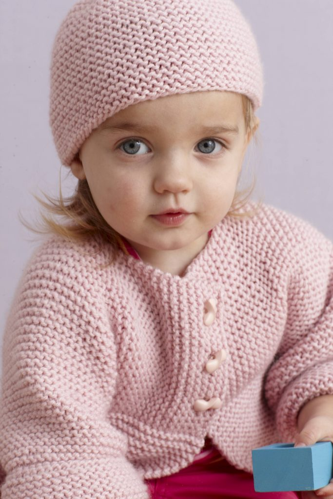 2c80ccd74c1 Free Knitting Pattern for a Strawberry Pink Sideways Baby Cardigan and Hat