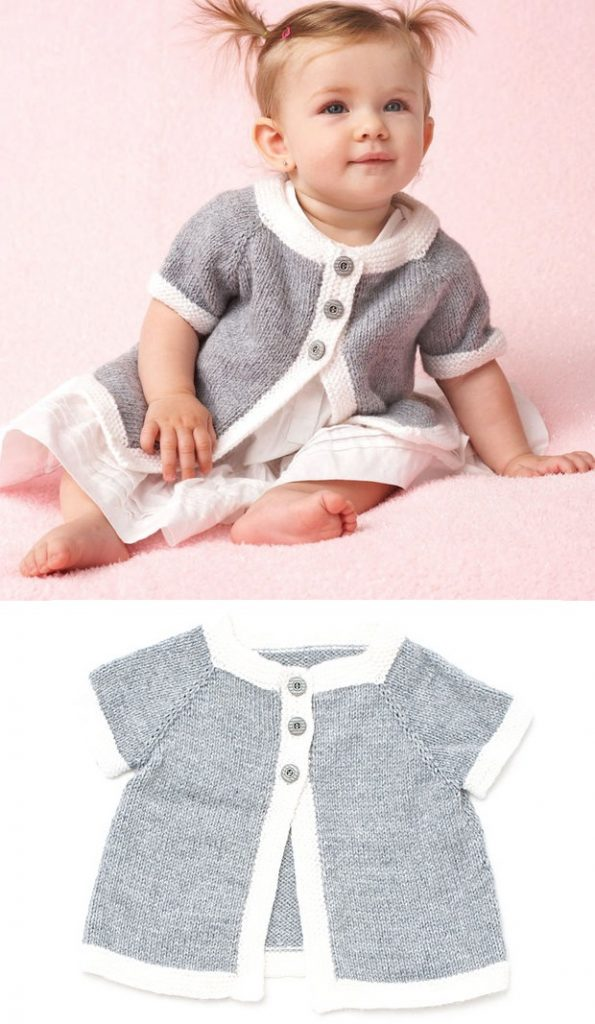 Free Knitting Pattern for a Top Down Baby Cardigan
