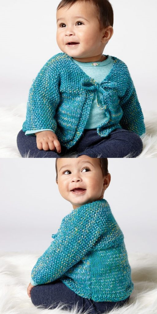 Free Knitting Pattern for an Easy Stitch Baby Cardigan