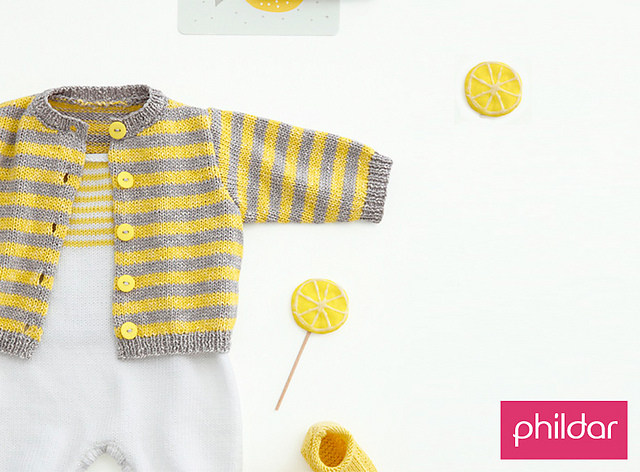 Free Knitting Pattern for an Easy Striped Baby Cardigan