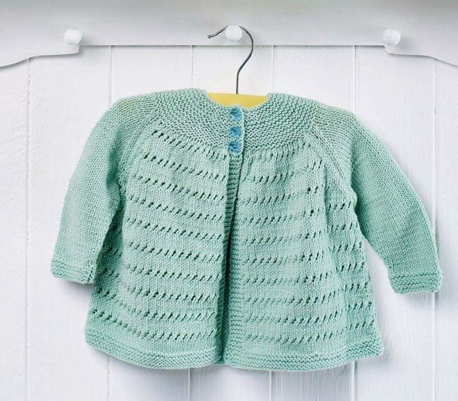 Free Knitting Pattern for an Easy Yoke Baby Cardigan