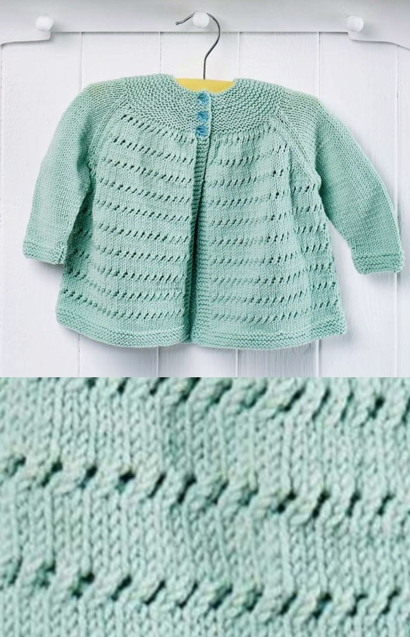 Free Knitting Pattern for an Easy Yoke Baby Cardigan