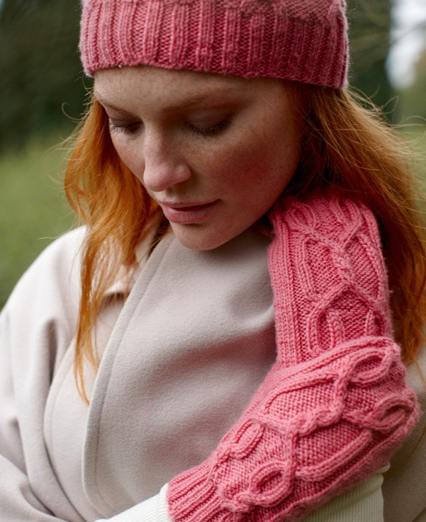 Free Knitting Pattern for the Alex Set Cabled Hat and Mittens 1