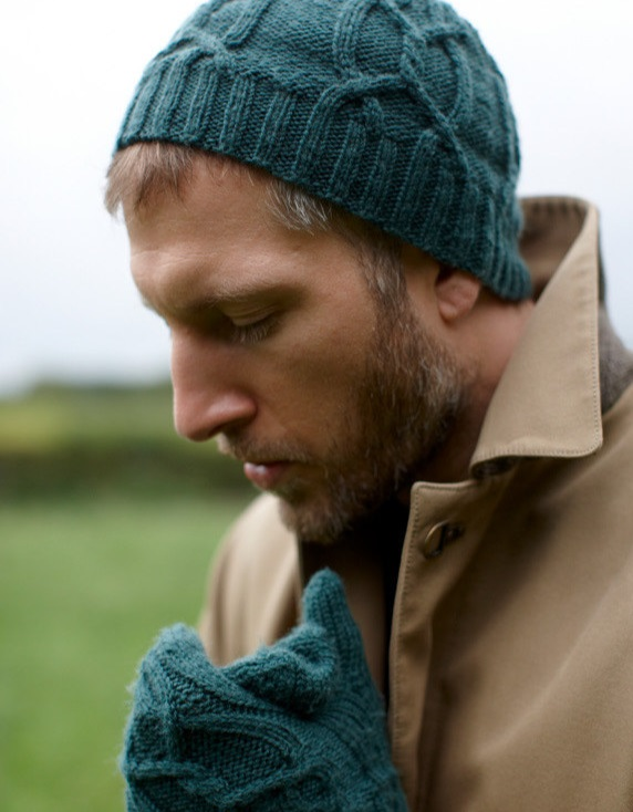 Free Knitting Pattern for the Alex Set Cabled Hat and Mittens for Men 1