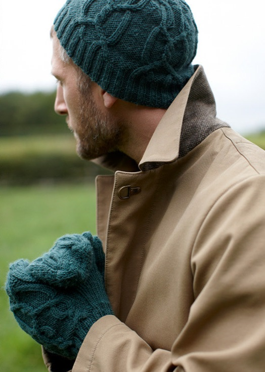 Free Knitting Pattern for the Alex Set Cabled Hat and Mittens for Men