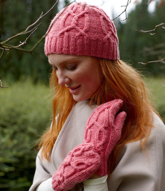 Free Knitting Pattern for the Alex Set Cabled Hat and Mittens