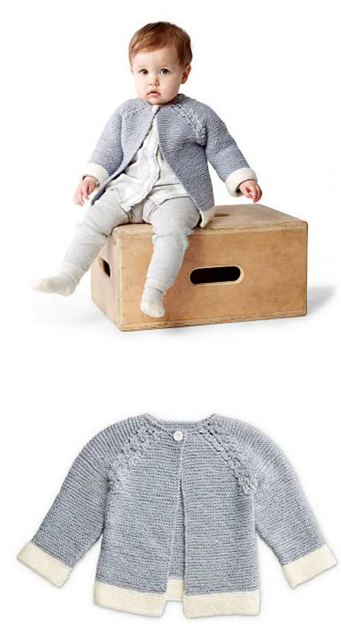 Free Knitting Patterns for Baby Cardigans Dipped Detail