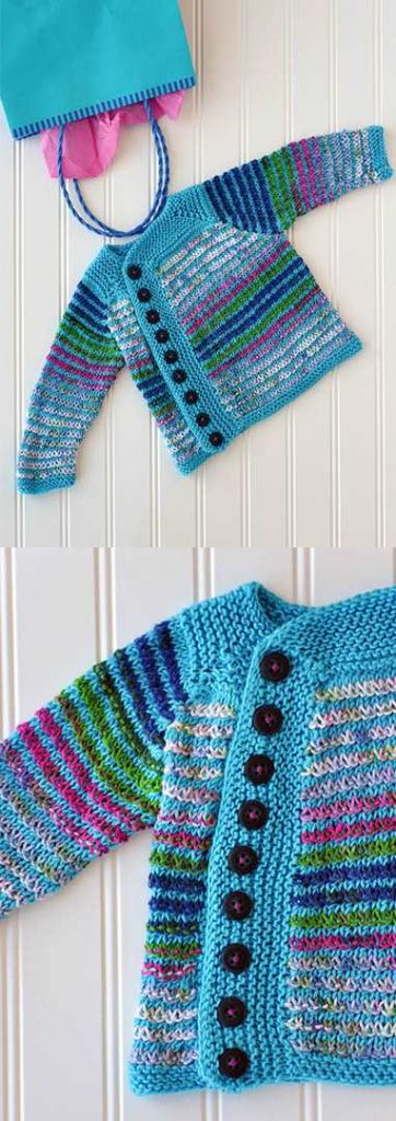Free Knitting Patterns for Baby Cardigans Stripes