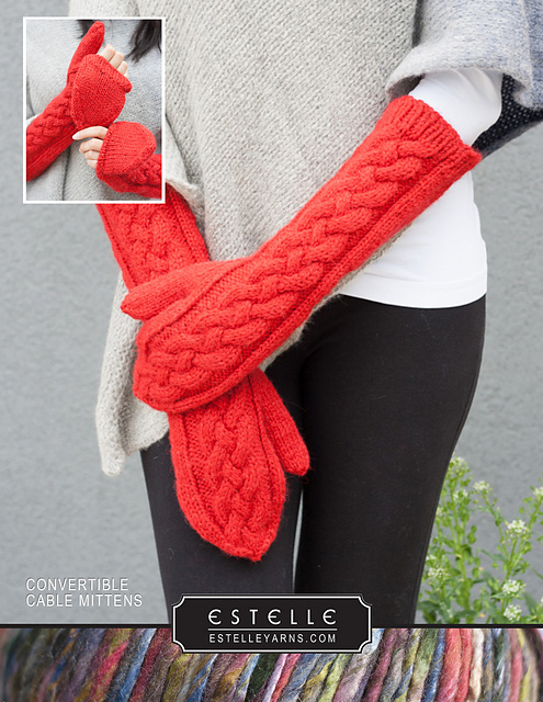 Free Knitting Patterns for Convertible Cable Mittens