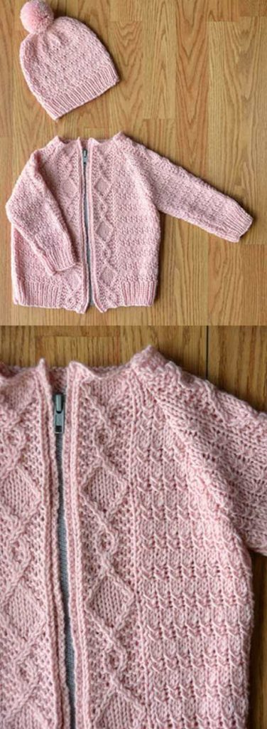 Free knitting pattern for a baby cardigan and hat set with mock cables