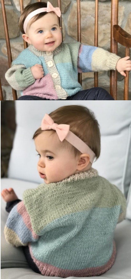 Free knitting pattern for a classic baby cardigan