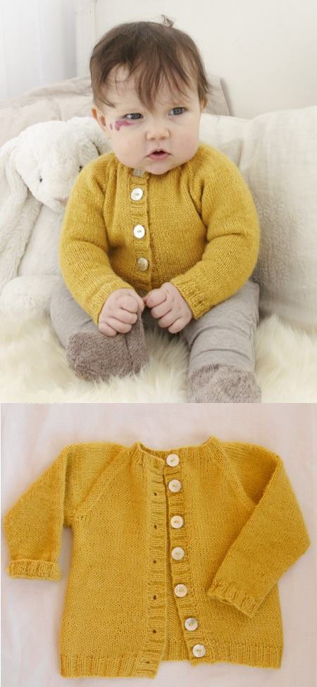 Free knitting pattern for an easy baby raglan cardigan