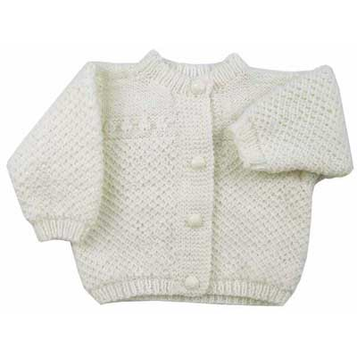 Free knitting pattern for an easy classic baby cardigan