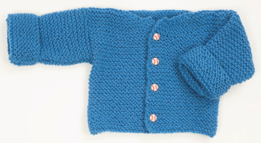 Free knitting pattern for an easy garter stitch baby cardigan