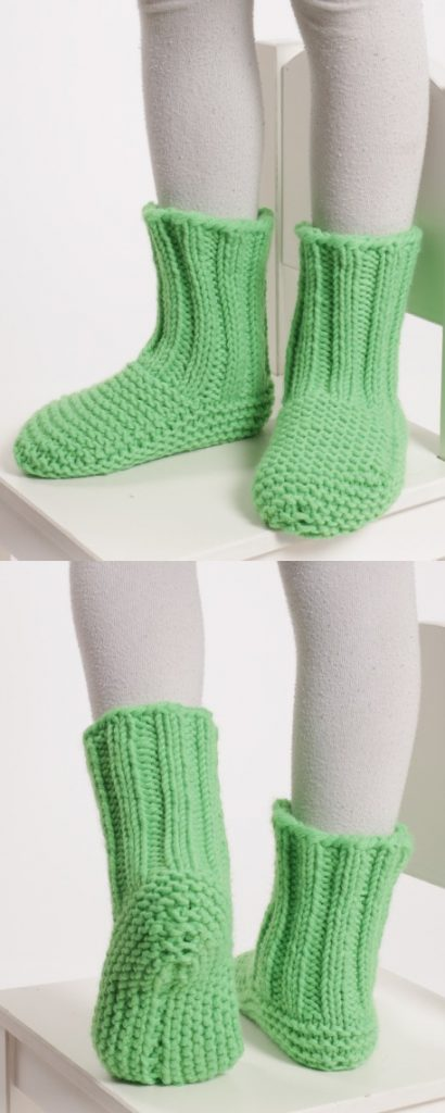 Free knitting pattern for garter stitch and rib stitch slippers