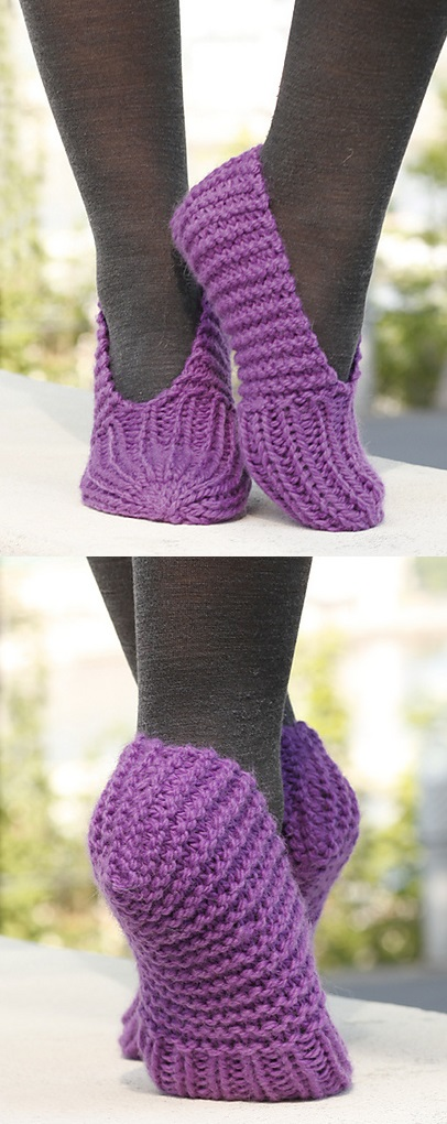 Free knitting pattern for simple slippers