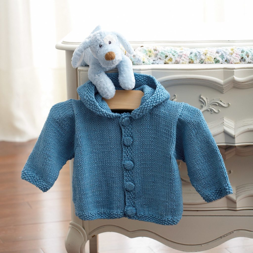 Knit Hoodie Free Knitting Pattern for Baby