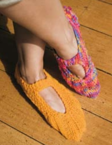 Knit Mary Jane slippers free pattern