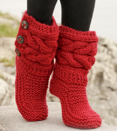 Free Knitting Patterns for Slippers with Cabled Cuffs