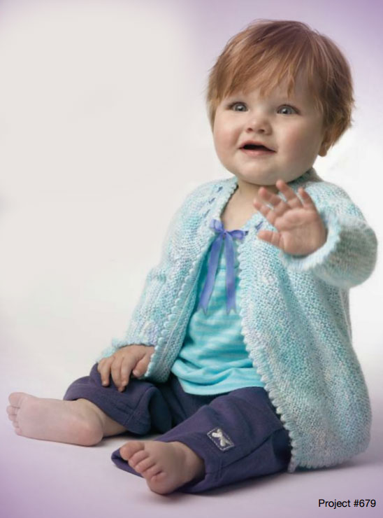 Picot edge baby jacket free knitting pattern