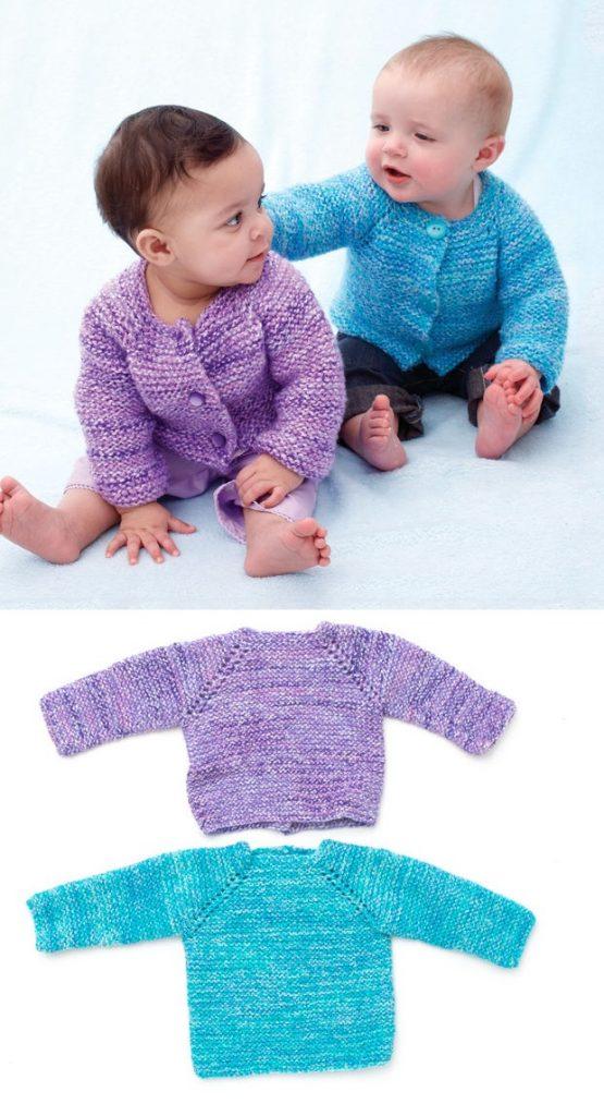Simple garter stitch baby cardigan pattern free