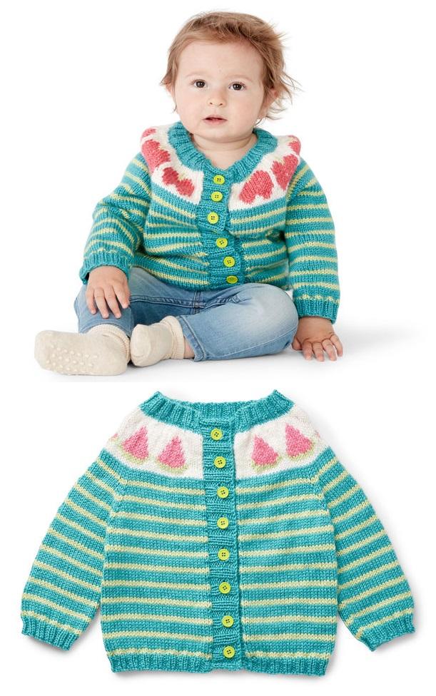Striped Baby Cardigan Free Knitting Pattern