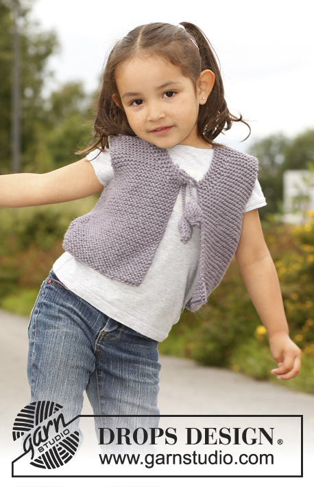 Free knitting pattern for a super easy beginner girls vest pattern in garter stitch