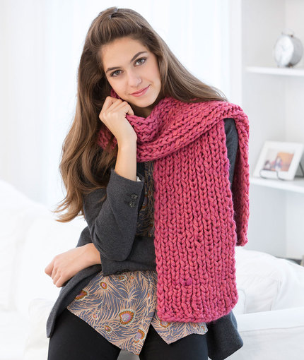 Beginner knitting pattern for a rib stitch scarf