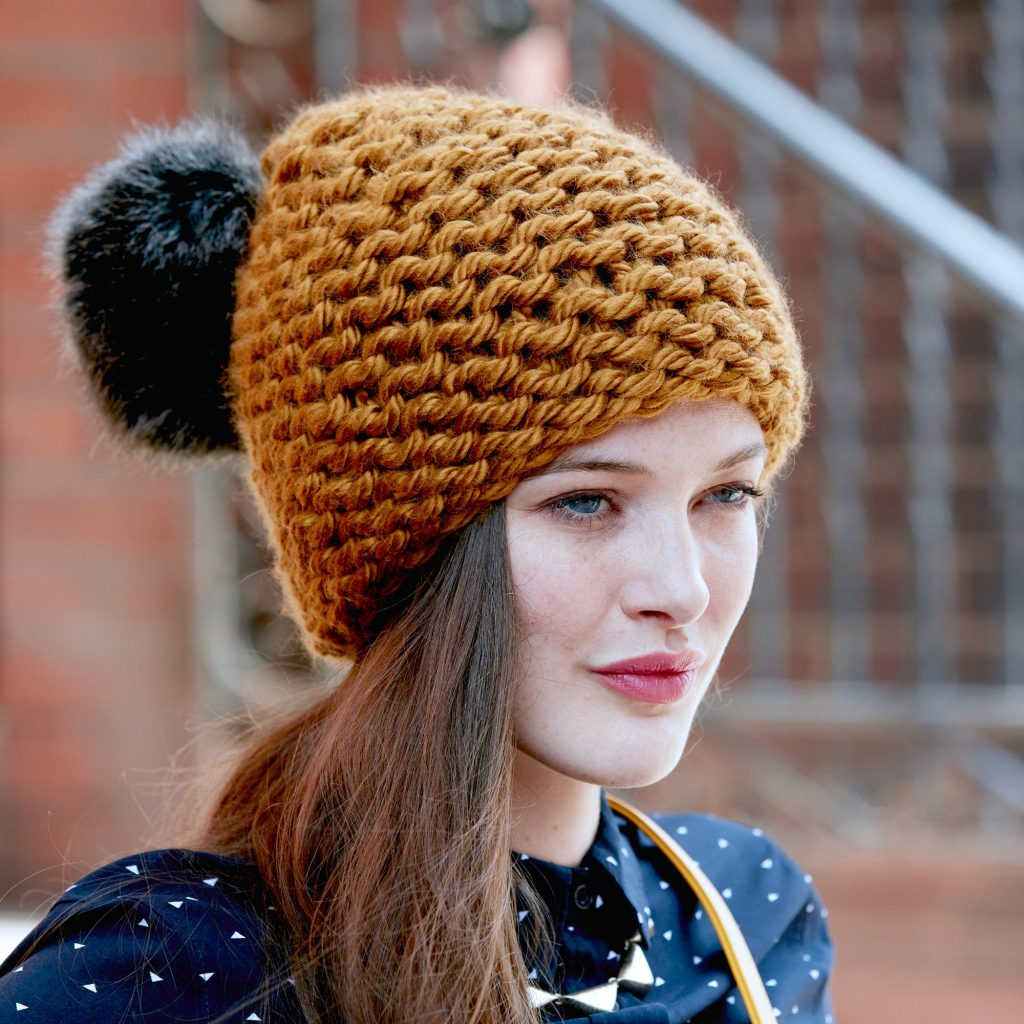 Beginner knitting pattern free. This quick-stitch hat is knit in bulky yarn