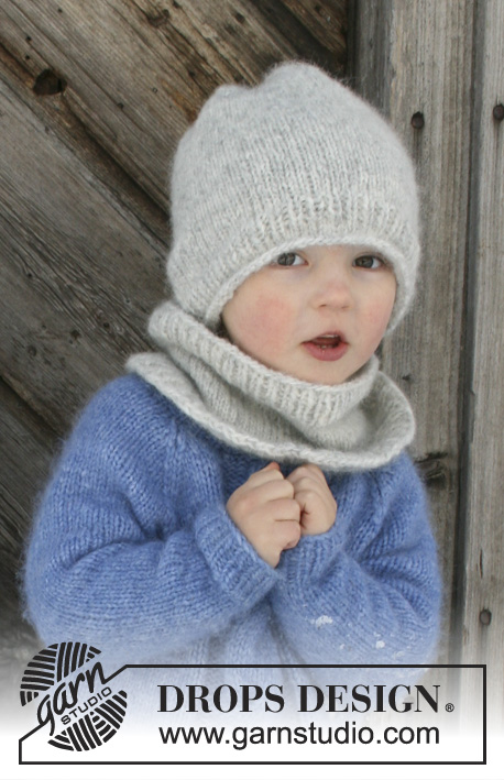 Easy and free kids knitting pattern for a hat and neck warmer set