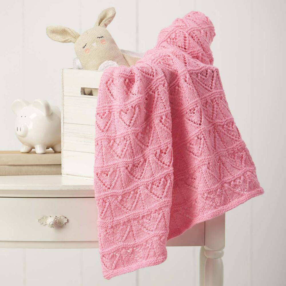 Free Baby Knitting Pattern for an Heart Themed Lace Baby Blanket