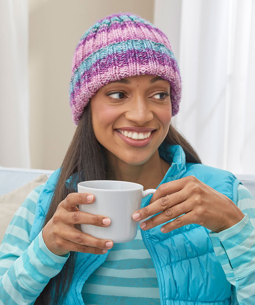 Free Knitting Pattern for Beginners Easy Knit Rib Hat
