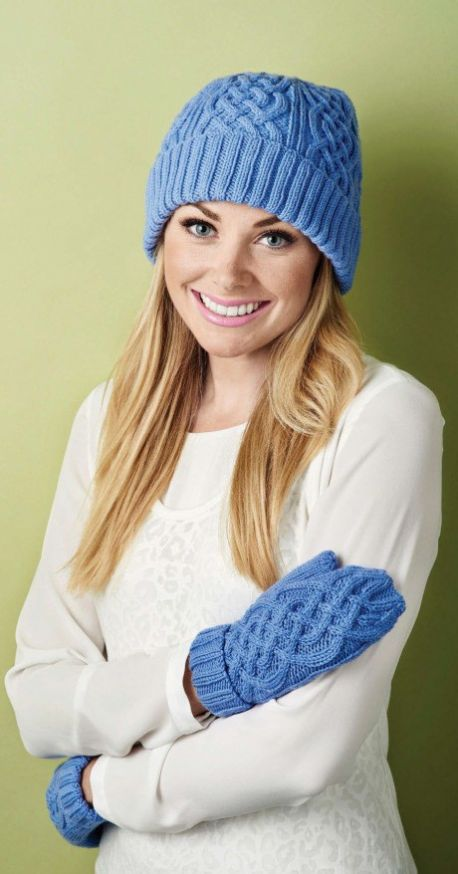 Free Knitting Pattern for Cable Hat and Mittens